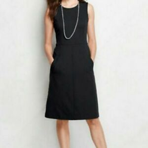 Land's End Ponte Petite Black Sheath Dress